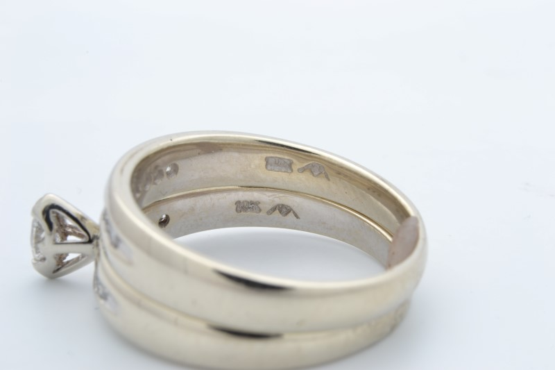 DIAMOND WEDDING SET RING BAND SOLID 10K WHITE GOLD MARQUISE SIZE 7.25