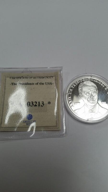 AMERICAN MINT REPUBLIC OF LIBERIA $20.00 SILVER COIN JAMES CARTER