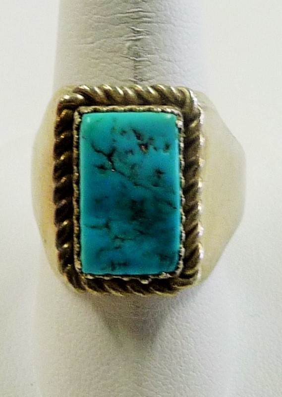 Synthetic Turquoise Gent's Silver & Stone Ring 925 Silver 12.68dwt