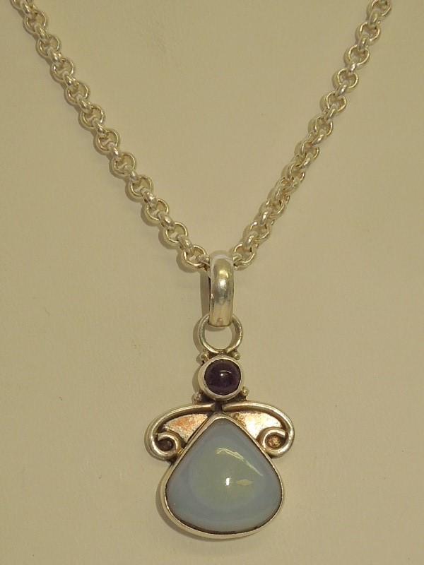 "16.8"" Synthetic Moonstone Stone Necklace 925 Silver 22.3g"