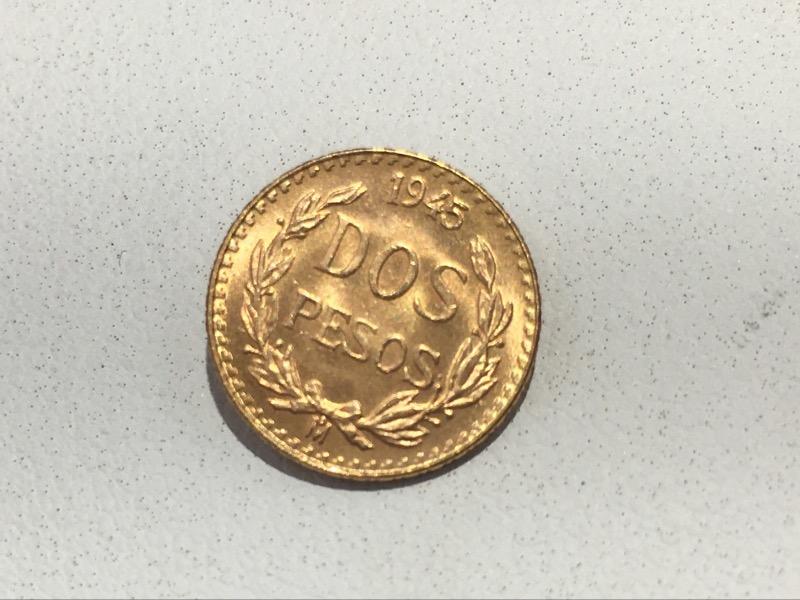 1945 Mexico Dos (Two) Pesos Gold Coin