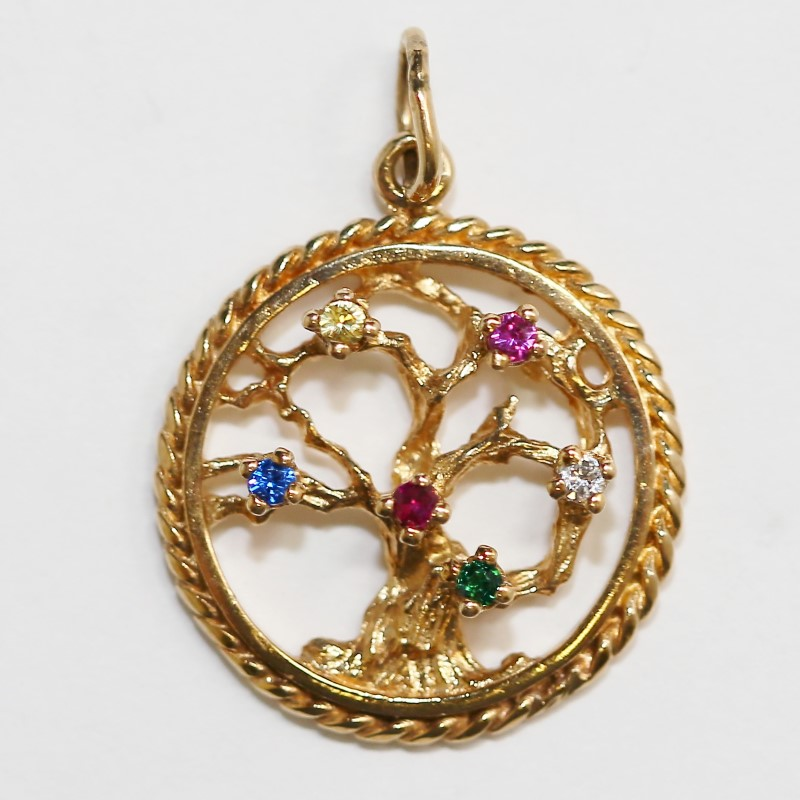 Antique 10K Yellow Gold and Colored Stones Tree of Life Pendant