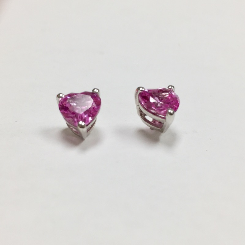 Pink Stone Silver-Stone Earrings 925 Silver 1.3dwt