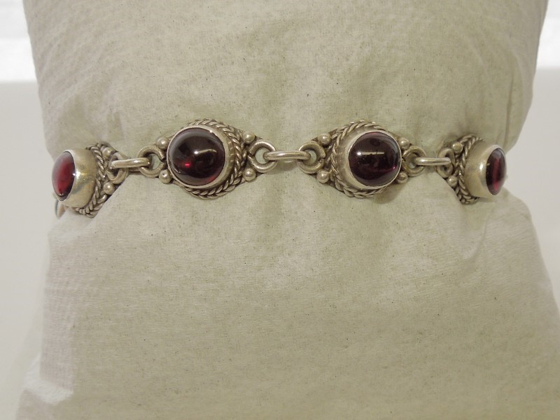 Synthetic Almandite Garnet Silver-Stone Bracelet 925 Silver 17.2g