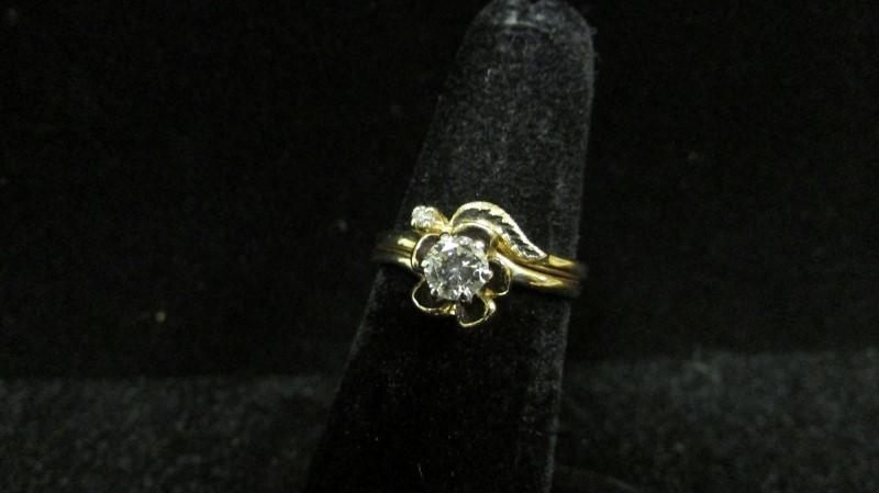 Lady's Diamond Wedding Set 2 Diamonds .29 Carat T.W. 14K Yellow Gold 3.6g