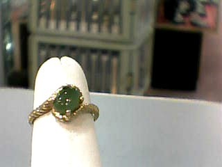 Jade Lady's Stone Ring 10K Yellow Gold 1.2dwt Size:5