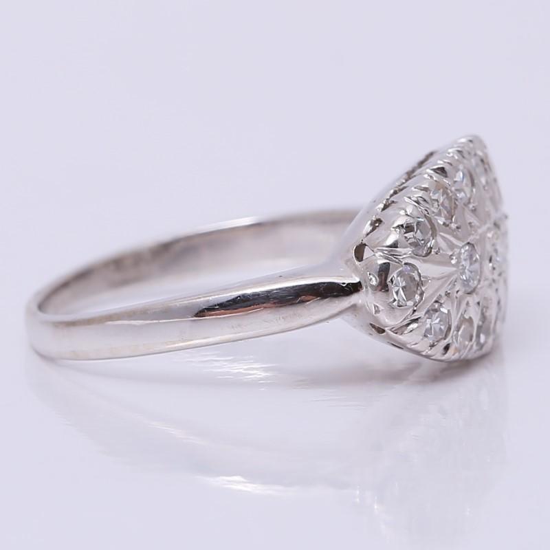 Vintage Inspired 14K W/G Round Brilliant Diamond Cluster Ring Size 7