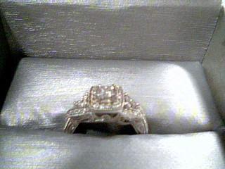 Lady's Diamond Cluster Ring 49 Diamonds .74 Carat T.W. 14K White Gold 3.2g