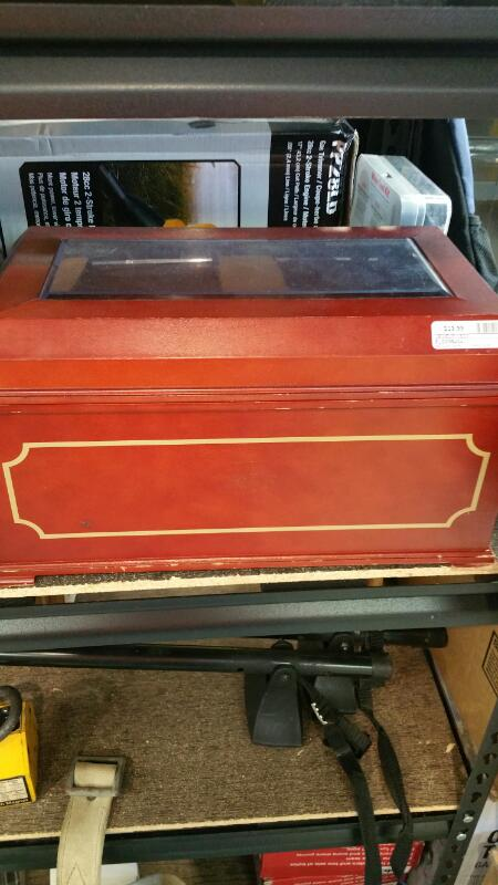 RED KLM BAG, WITH JEWELRY BOX, FILLED WITH WATCHES, KNIVES, BATTERIES, ETC.
