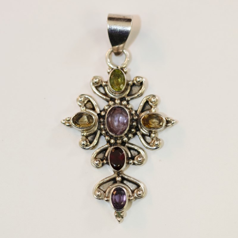 Silver Multi Gem Stone Cross Shaped Pendant