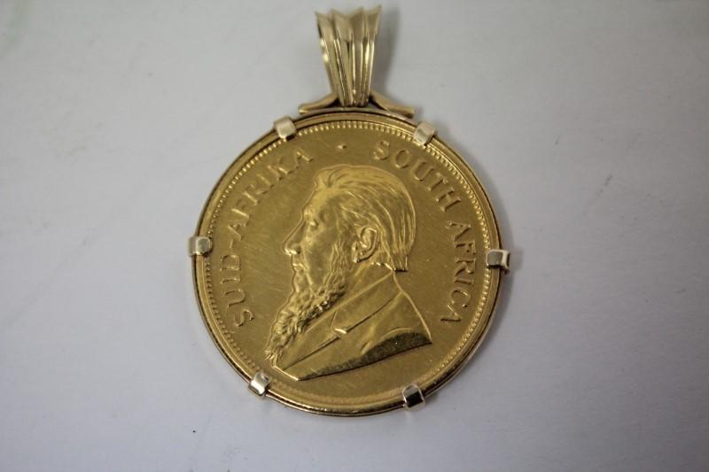 South African 1 oz. Gold Krugerand in 14k Gold Bezel