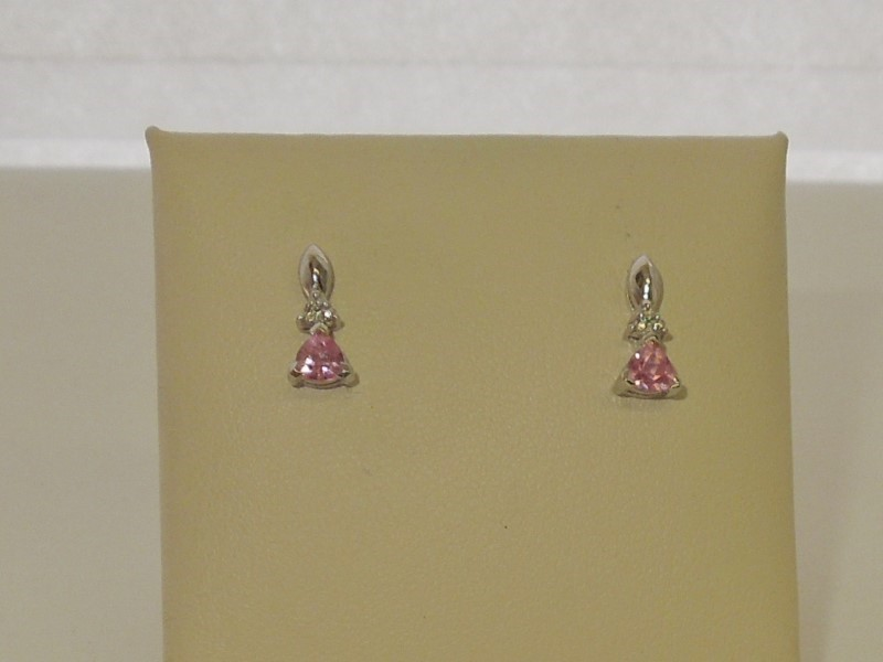 Pink Stone Gold-Stone Earrings 10K White Gold 1.1g