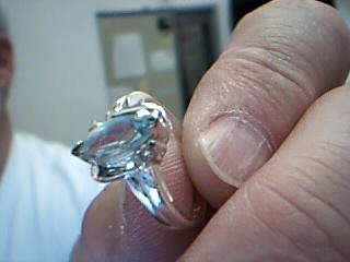 Blue Stone Lady's Silver & Stone Ring 925 Silver 3.1g