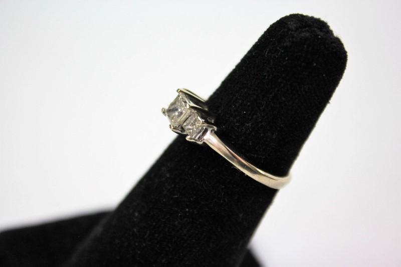 Lady's Diamond Engagement Ring 3 Diamonds .86 Carat T.W. 14K White Gold 3.1g