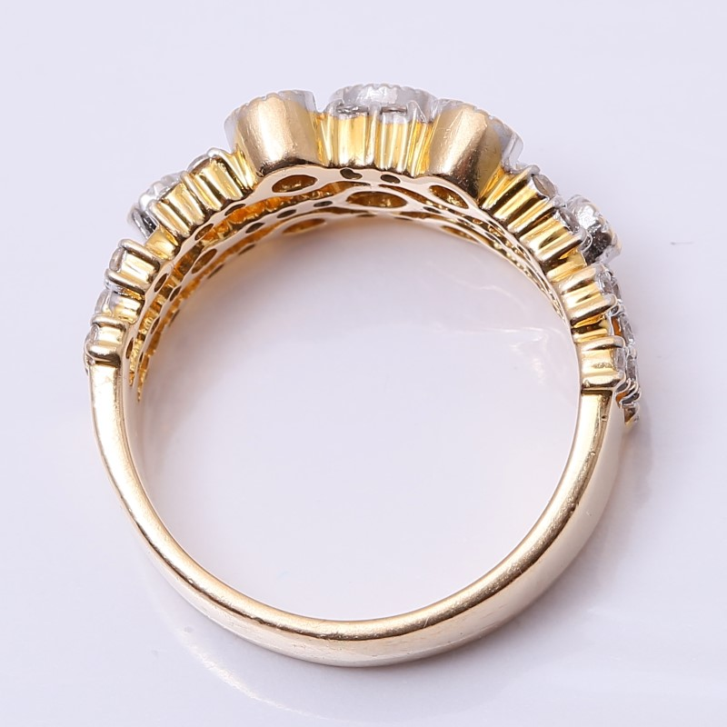 Unique 14K Yellow Gold  Round Brilliant Diamond Fashion Ring Size 7