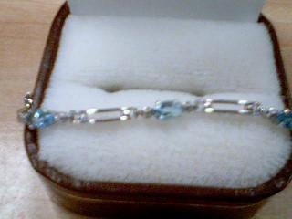 Aquamarine Gold-Stone Bracelet 10K White Gold 3.5g