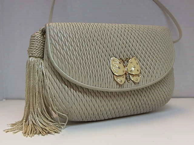 JUDITH LEIBER BUTTERFLY TASSEL LEATHER SHOULDER BAG