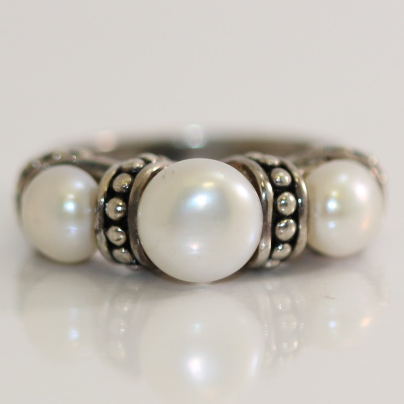 3 Round Pearl Sterling Silver Ring Size 6.25