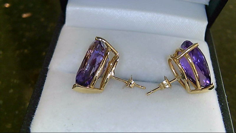 Synthetic Amethyst Gold-Stone Earrings 14K Yellow Gold 3.8g
