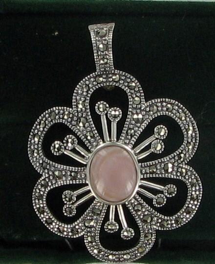 Pink Stone Silver-Stone Pendant 925 Silver 4.8dwt