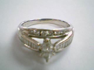 Lady's Diamond Wedding Band 35 Diamonds 1.00 Carat T.W. 14K White Gold 5.2g