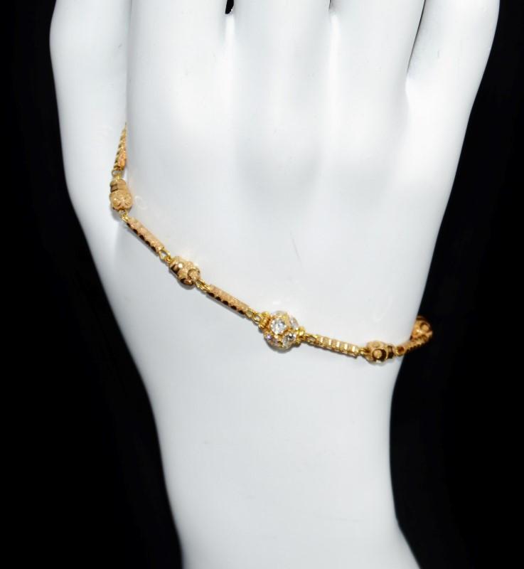 "22K Yellow Gold Diamond Cut Radiant Bauble Hook Closure Chain Bracelet 6.5"""