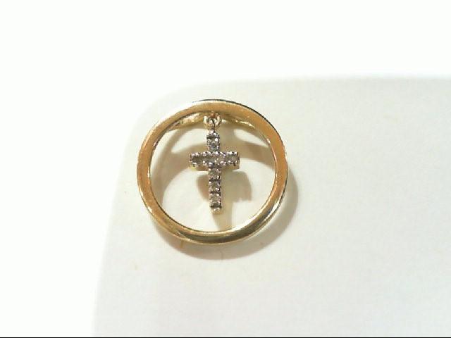 Gold-Multi-Diamond Pendant 8 Diamonds .040 Carat T.W. 14K Yellow Gold 0.9g