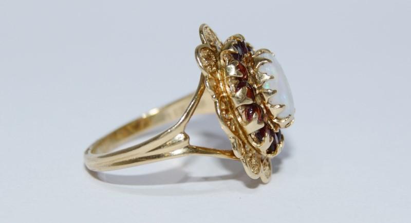 10K Yellow Gold Vintage Inspired Split Shank Opal & Garnet Halo Filigree Ring