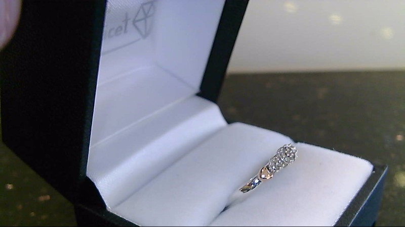 Lady's sterling silver 925 and 10k rose gold diamond cluster ring