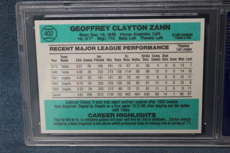 Geoff Zahn 1984 Donruss Angels #402 PSA NM-MT8