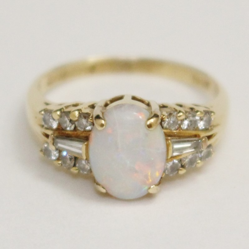 Lovely Vintage Inspired Oval Cut Opal and Diamond Ring Size 6.75