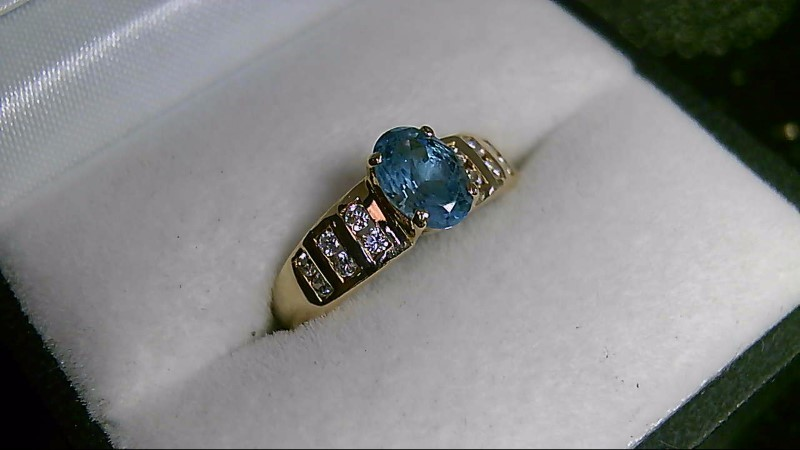 Sky Blue Topaz Lady's Stone & Diamond Ring 12 Diamonds .24 Carat T.W.
