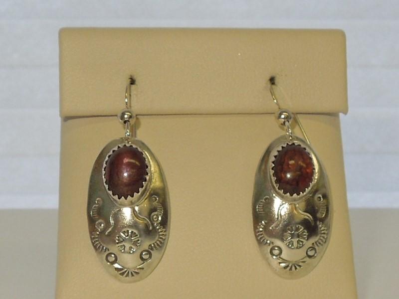 Synthetic Almandite Garnet Silver-Stone Earrings 925 Silver 4.2g