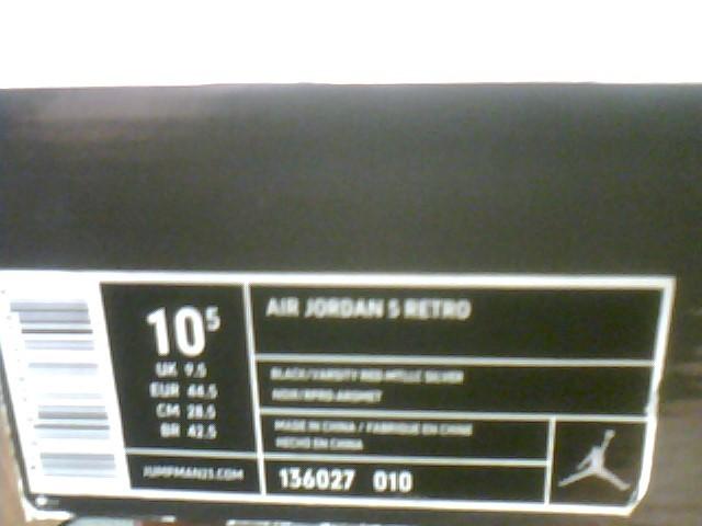 2011 NIKE AIR JORDAN 5 V RETRO black/varsity metallic 136027-010 sz 10.5