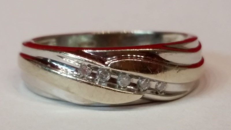 Gent's Gold-Diamond Wedding Band 2 Diamonds .10 Carat T.W. 14K White Gold 4.06g