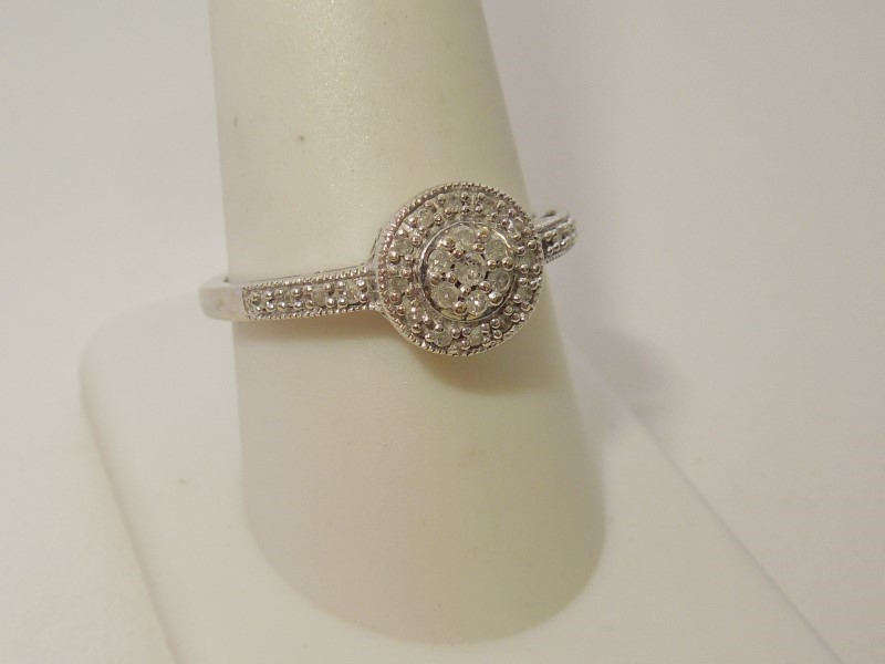 Lady's Diamond Cluster Ring 33 Diamonds .41 Carat T.W. 10K White Gold 2.8g