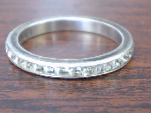 Synthetic Cubic Zirconia Lady's Silver & Stone Ring 925 Silver 2.6g Size:8