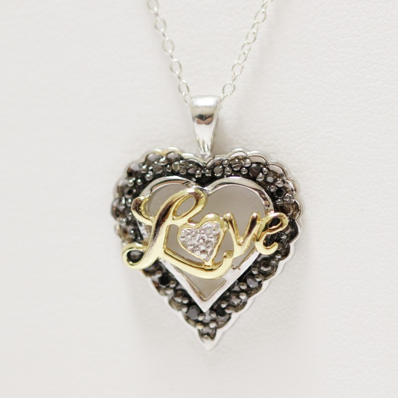 "Sterling Silver ""Love"" Pendant & 17"" Chain Necklace"