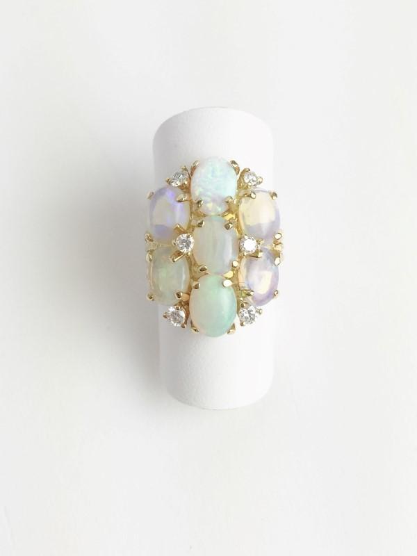 Multi Opal & Diamond Ring 6 Diamonds .18 Carat T.W. 14K Yellow Gold 6.6g