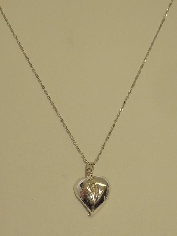 Diamond Necklace 6 Diamonds .06 Carat T.W. 14K White Gold 2.3g