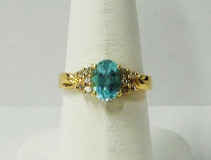 Synthetic Aquamarine Lady's Stone & Diamond Ring 10 Diamonds .10 Carat T.W.