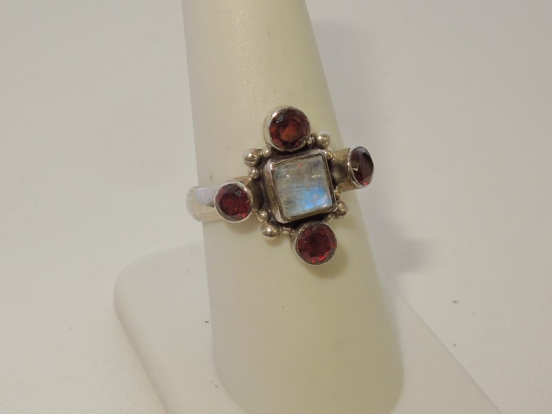 Synthetic Moonstone Lady's Silver & Stone Ring 925 Silver 4.2g Size:8