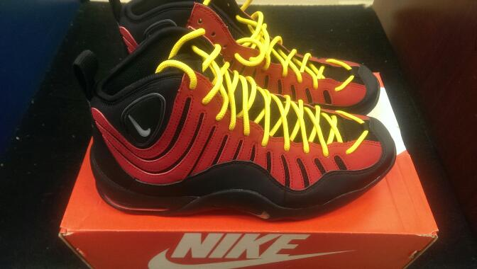 Nike 316383-001 2013 Air Bakin' sz 10 Men's Basketball Shoes | BLK/RED-ORNG
