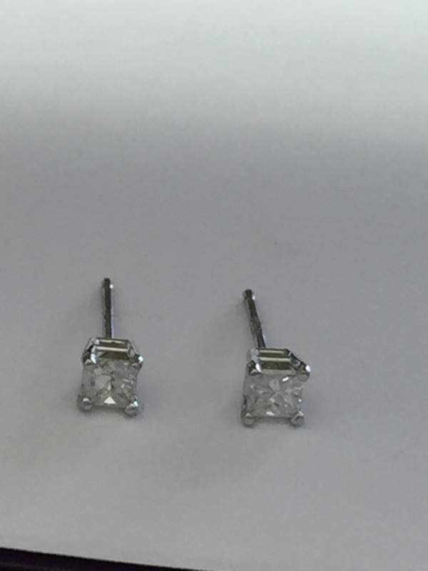 .30 Carat PRINCESS CUT 14K WHITE GOLD DIAMOND STUDS