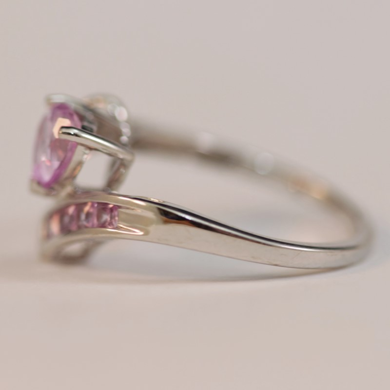 Unique Twisted 10K White Gold Pink Stone Ring Size 6.75