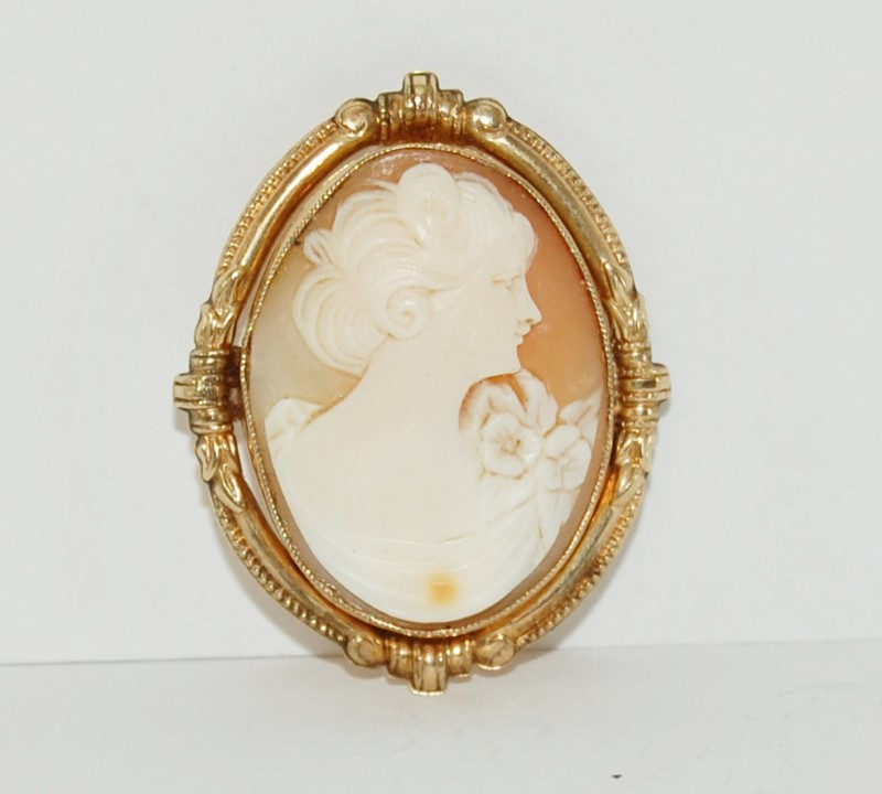 10K Solid Yellow Gold Ornate Carnelian Shell Cameo Brooch/Pendant Pin