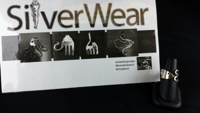 Designer Michael Kelch Fish Fork Ring 925 Silver
