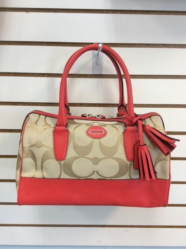 Coach Legacy Signature Haley Satchel Khaki and Coral 23575 Shoulder Bag **NWT**