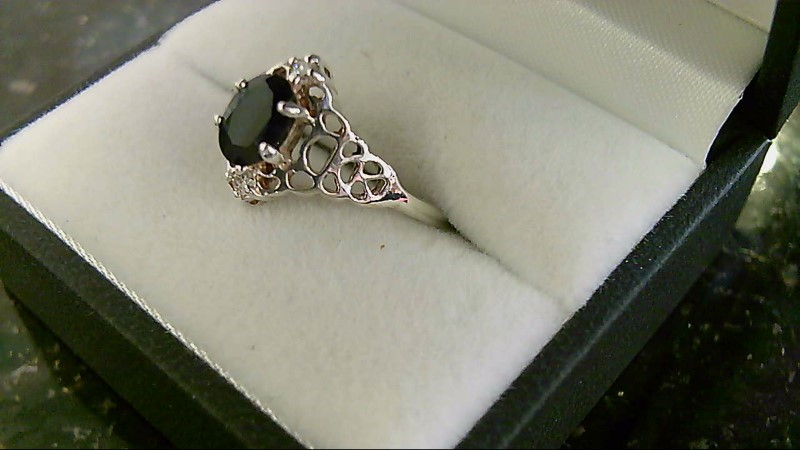 Lady's sterling silver 925 oval onyx sz 8 ring