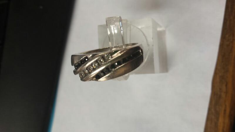 Gent's Silver-Diamond Ring 25 Diamonds .25 Carat T.W. 925 Silver 4.2dwt